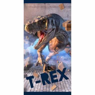 Dinosaurus tyrannosaurus rex strand/bad handdoek 70 x 140 cm groot