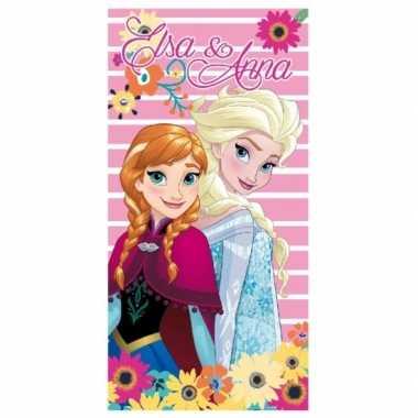 Elsa en anna frozen strandlaken met bloemen groot