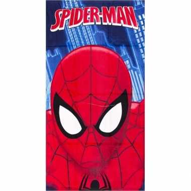 Marvel spiderman gezicht strandlaken/strandlaken blauw 70 x 140 cm gr