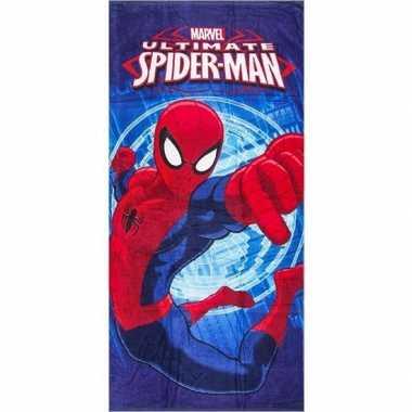 Marvel spiderman strandlaken/strandlaken blauw 70 x 140 cm groot