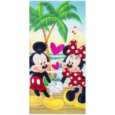 Mickey en minnie strandlaken/strandlaken 70 x 140 cm groot