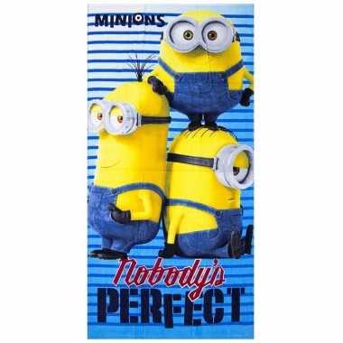 Minions nobody is perfect strandlaken 70 x 140 cm groot
