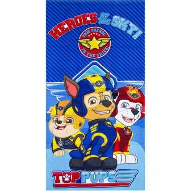 Paw patrol heroes strandlaken/strandlaken blauw 70 x 140 cm groot