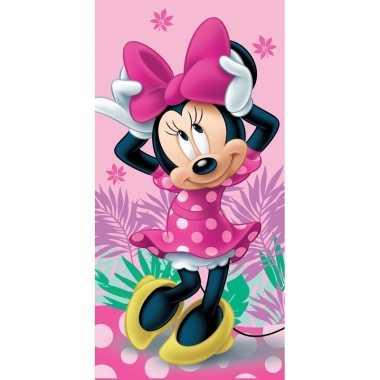 Roze disney minnie mouse strand/bad handdoek 70 x 140 cm groot