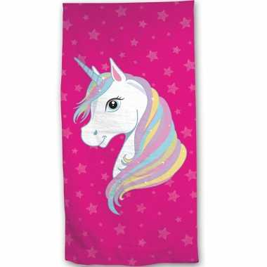 Roze eenhoorn strand/bad handdoek 70 x 140 cm groot