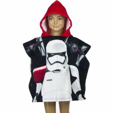 Star wars stormtrooper badcape zwart/rood voor kinderen groot