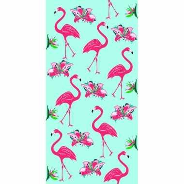 Strandlaken/strandlaken flamingo print 70 x 140 cm groot