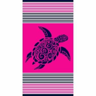 Strandlaken/strandlaken fuchsia met schildpad 90 x 170 cm groot