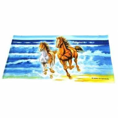 Strandlaken/strandlaken paard met veulen 150 x 70 cm groot
