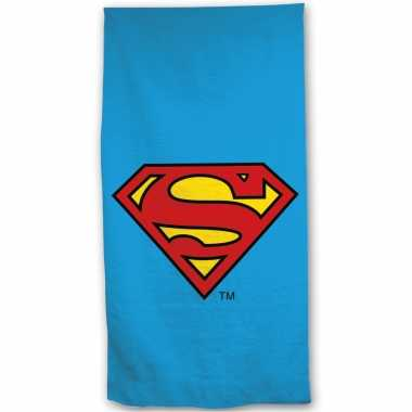 Strandlaken/strandlaken superman blauw 70 x 140 cm groot