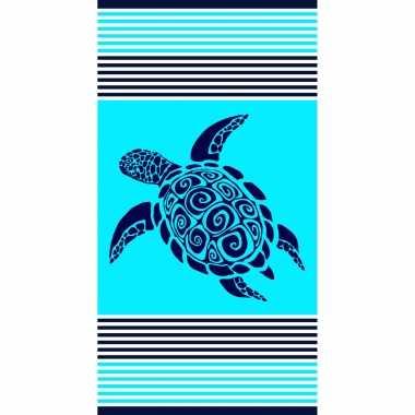 Strandlaken/strandlaken turquoise met schildpad 90 x 170 cm groot