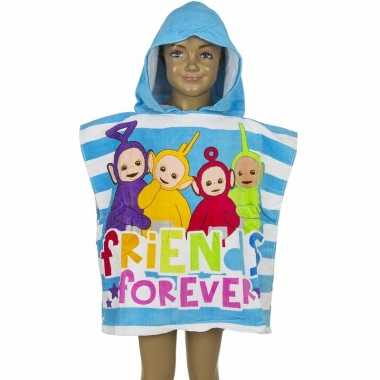 Teletubbies kinderponcho blauw groot