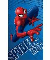 Blauwe marvel spiderman strand bad handdoek 70 x 120 cm groot