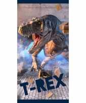 Dinosaurus tyrannosaurus rex strand bad handdoek 70 x 140 cm groot