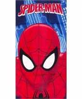 Marvel spiderman gezicht strandlaken strandlaken blauw 70 x 140 cm groot