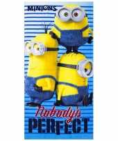 Minions nobody is perfect strandlaken 70 x 140 cm groot