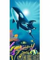 Strandlaken orka met baby 75 x 150 cm groot