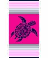 Strandlaken strandlaken fuchsia met schildpad 90 x 170 cm groot