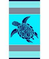 Strandlaken strandlaken turquoise met schildpad 90 x 170 cm groot